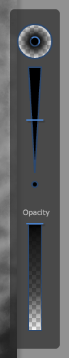 The brush options including hardness, size, and opacity.