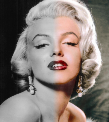 A portrait fading from black and white to colored.